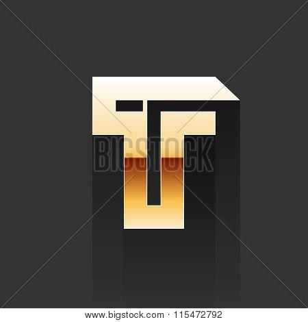 Vector Gold Letter T Shape Logo Element