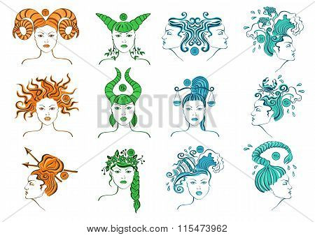 Set Of Isolated Zodiac Signs.