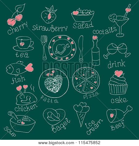 Set of Foods with hearts. Love romantic. For invitations cards. Valentines day, Wedding. Doodle Hand