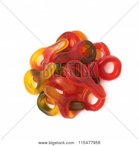 Pile of gelatin based candies isolated