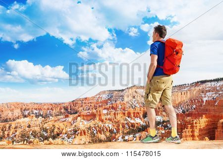Portrait of man hiker backpack in Bryce canyon