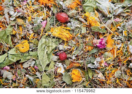 Herbal tea with calendula and rose