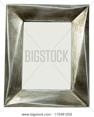 Metal photo frame with scratches standing straight