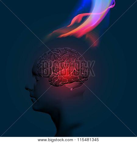 Human Brain Illustration Abstract Theme
