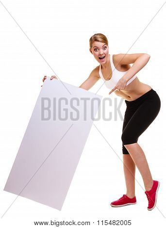 Fitness Sporty Woman Holding Blank Empty Ad Banner