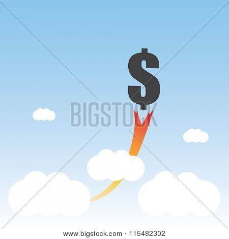 The Dollar Sign Is Rising - The Economy Is Growing - Business Concept Design