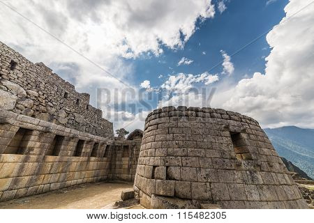 Detailed Wide Angle View Of Machu Picchu Buildings, Peru