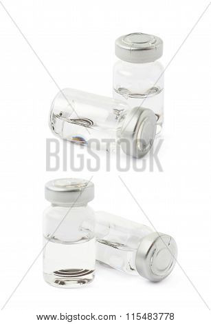 Glass flask with an eye lenses isolated