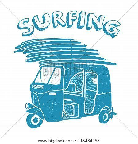 Blue tuk-tuk with surfboards, grunge vintage logo