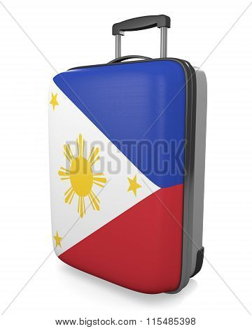Philippines vacation destination concept of a flag painted travel suitcase