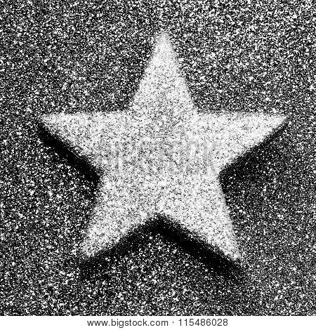 Silver Star In Dark Background