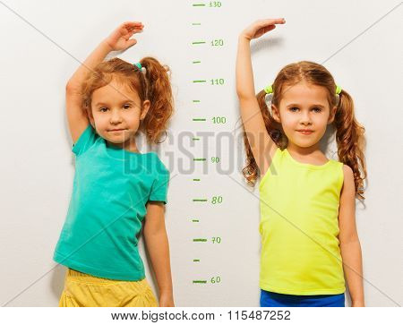 Two little girls standing close to the scale on the wall showing height with hand above the head
