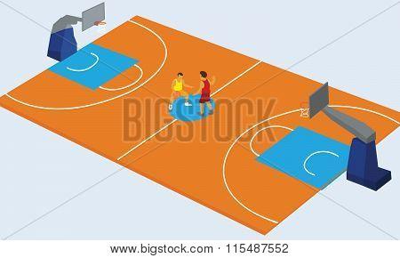 basketball court arena match game basket player