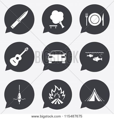 Hike trip, camping icons. Fishing, tourist tent.