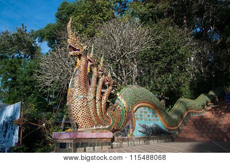 Serpent On Staircase Of Wat Phra That Doi Suthep,Thailand.