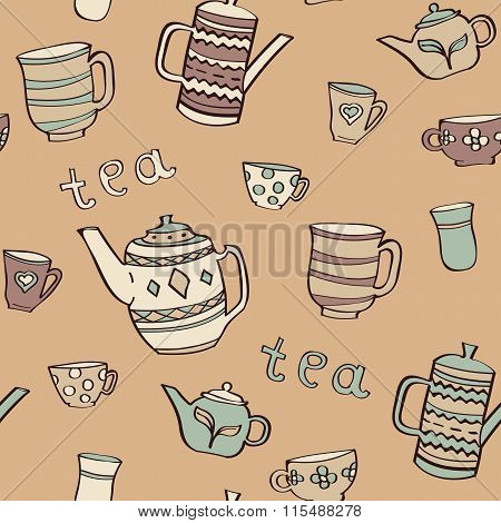 Pattern With Teapot And Cups.
