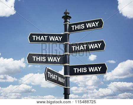 Crossroad signpost saying this way and that way concept for lost, confusion or decisions