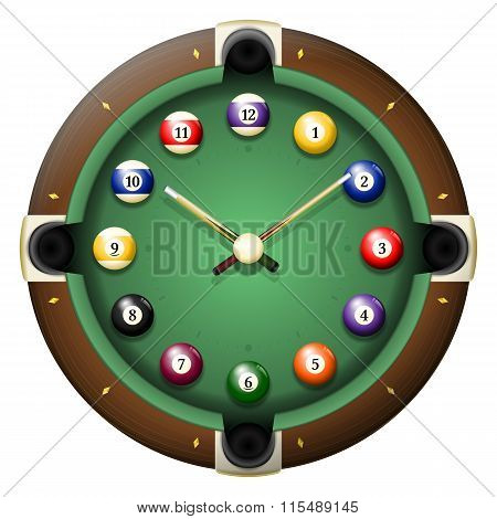 Pool Table Clock Vector
