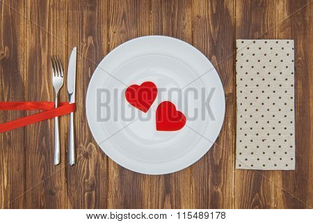 Celebrate Valentine's Day, Heart Shape On A Plate