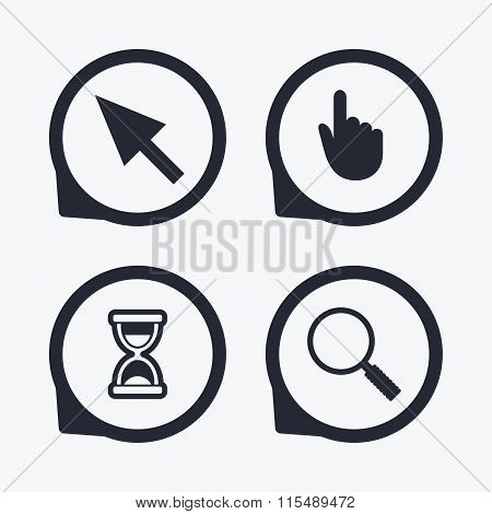 Mouse cursor icon. Hourglass, magnifier glass.