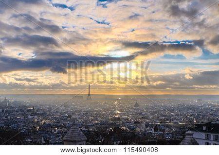 winter sunset in Paris