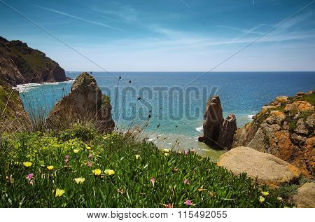 Beautiful scenic of portuguese coastline in Roca Cape