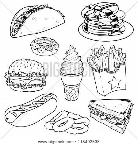 Set Of Cartoon Fast-food Icons On White Background.