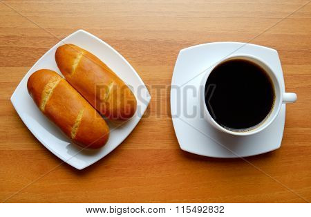 French Bread Rolls And Coffee