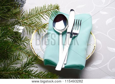 Flatware And Christmas Tree