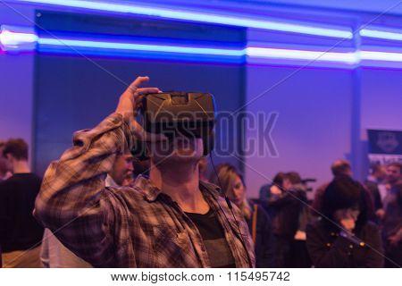 Man Tries Virtual Reality Headset