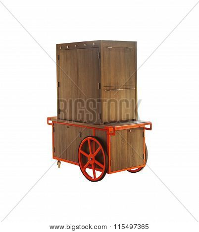 Market Stall Rustic On White Isolated Background With Clipping Path.