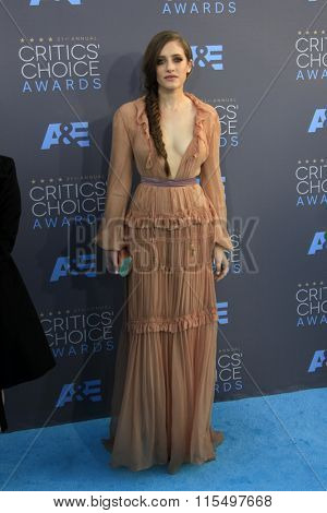 LOS ANGELES - JAN 17:  Carly Chaikin at the 21st Annual Critics Choice Awards at the Barker Hanger on January 17, 2016 in Santa Monica, CA