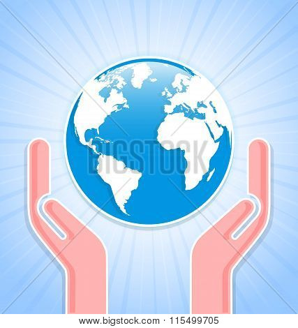 Caring hands with planet Earth on blue background with rays