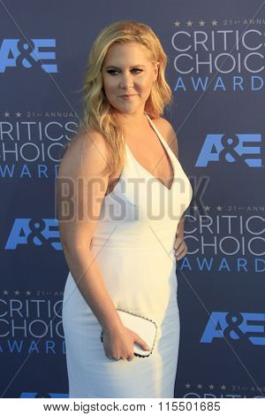 LOS ANGELES - JAN 17:  Amy Schumer at the 21st Annual Critics Choice Awards at the Barker Hanger on January 17, 2016 in Santa Monica, CA