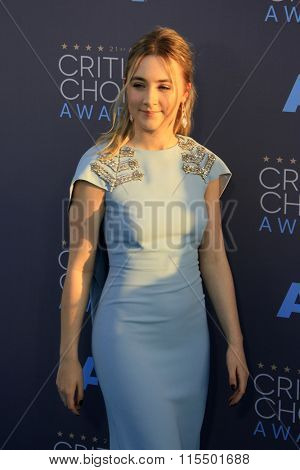 LOS ANGELES - JAN 17:  Saoirse Ronan at the 21st Annual Critics Choice Awards at the Barker Hanger on January 17, 2016 in Santa Monica, CA