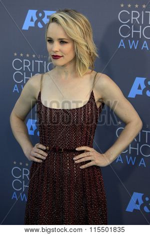 LOS ANGELES - JAN 17:  Rachel McAdams at the 21st Annual Critics Choice Awards at the Barker Hanger on January 17, 2016 in Santa Monica, CA
