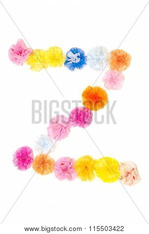 Alphabet Z Flowers Made From Paper Craftwork