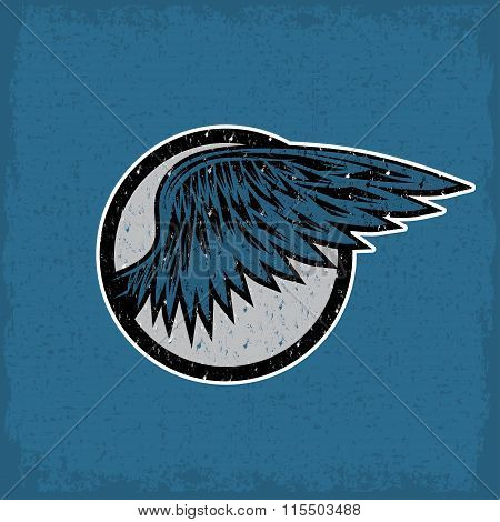 Grunge Vintage Sport Label With Wings