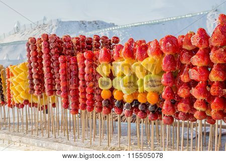 Frozen Sugar Coated Fruits On Sticks