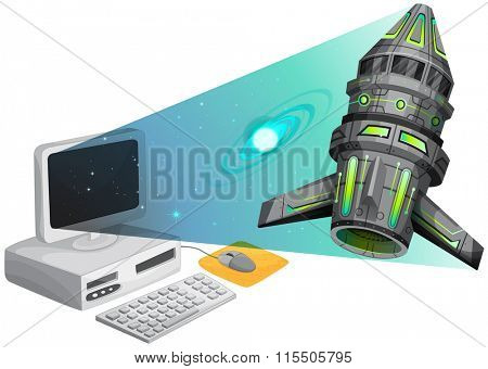 Spaceship floating out of the computer screen illustration
