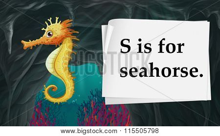 Letter S is for seahorse illustration