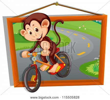 Monkey riding bicycle on the road illustration