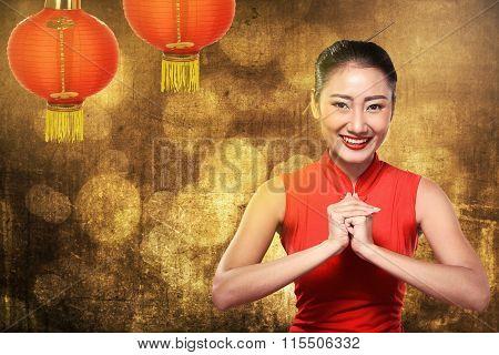 Chinese Woman In Cheongsam Dress Smile