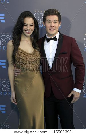 LOS ANGELES - JAN 17:  Chloe Bridges, Adam Devine at the 21st Annual Critics Choice Awards at the Barker Hanger on January 17, 2016 in Santa Monica, CA