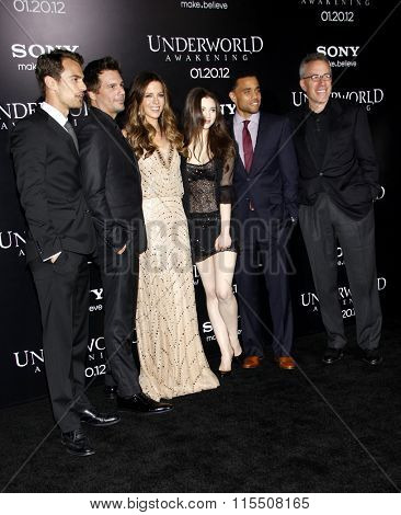 India Eisley, Len Wiseman and Kate Beckinsale at the Los Angeles Premiere of