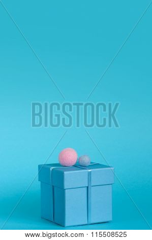 Blue Gift Box With Decoration