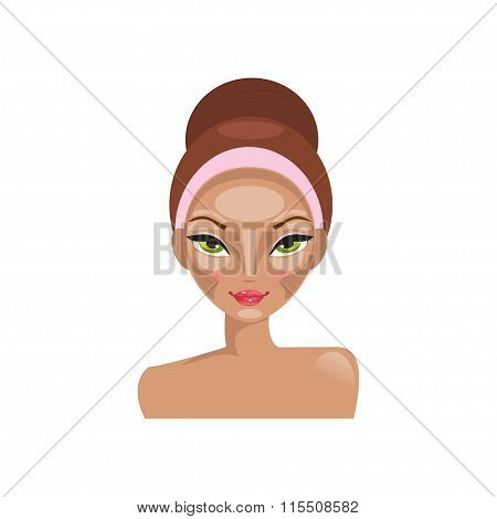 Contouring The Face. Vector Illustration