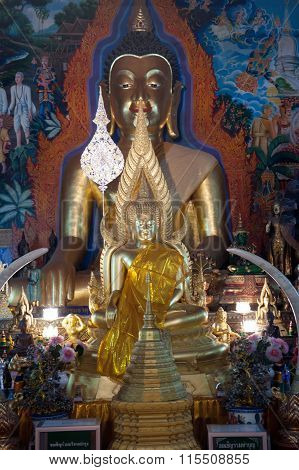 Indoor Buddha Statue Of Wat Phra That Doi Suthep In Thailand.