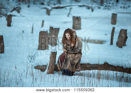Girl Froze In The Winter Woods.