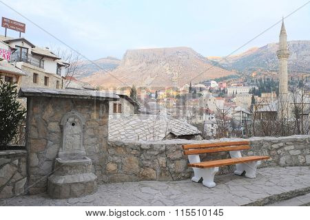 Mostar, Bosnia, January, 1, 2016: Landscape with the image of Mostar, Bosnia